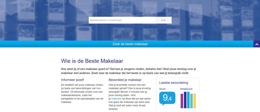 homepage van het vernieuwde WieIsDeBesteMakelaar.nl