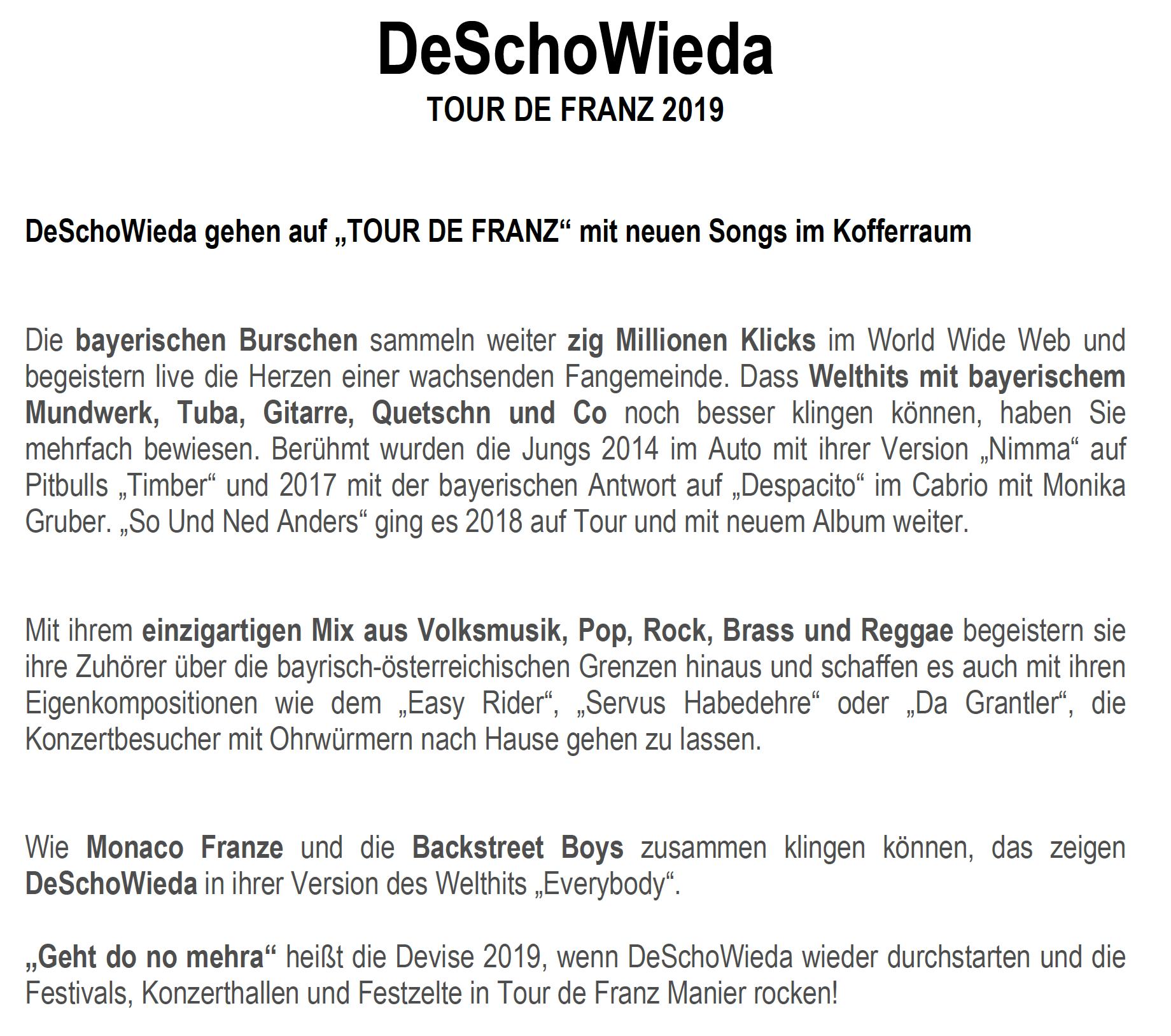 DeSchoWieda - Bayrische Popmusik