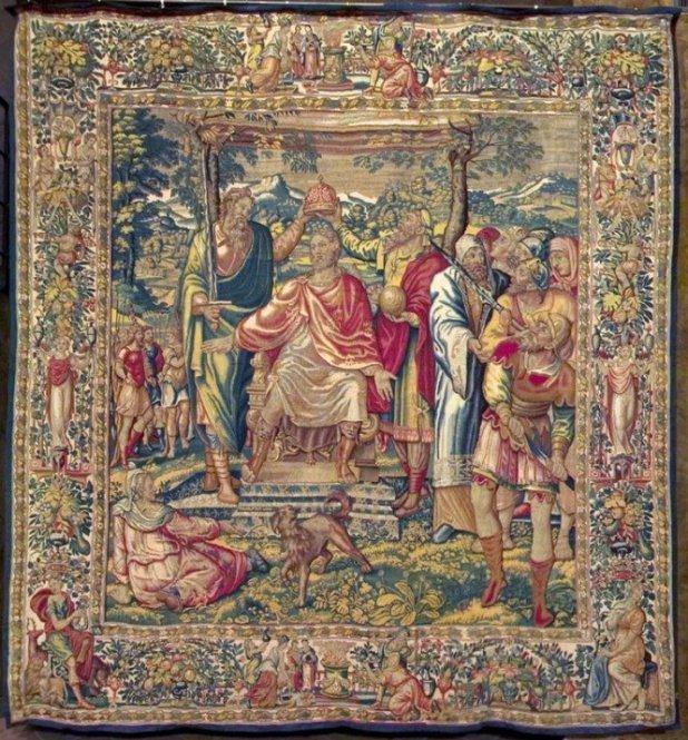 Tapeçaria flamenga que ilustra a Coroação do Imperador Romano Vespasiano