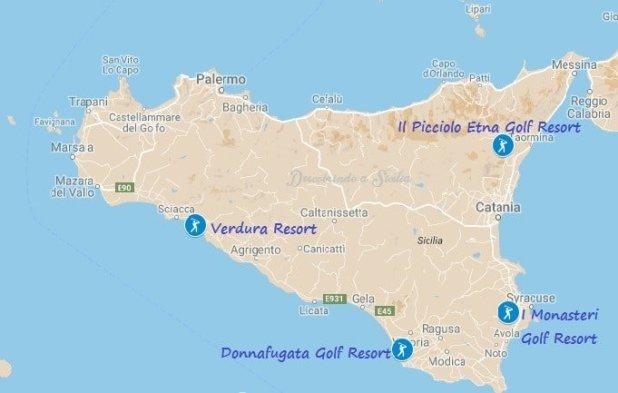 Localização dos resorts com campo de golfe na Sicília