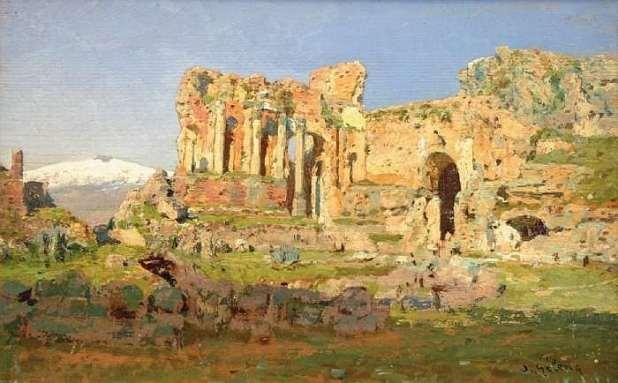 Um dos quadros de Otto Geleng que retratam Taormina no século XIX.