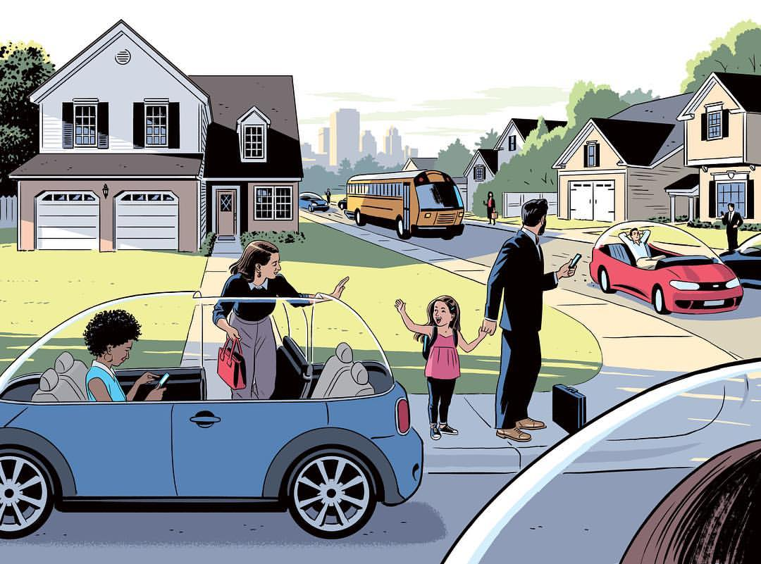R Kikuo Johnson - The End of Car Ownership - Cover illustration for The Wall Street Journal