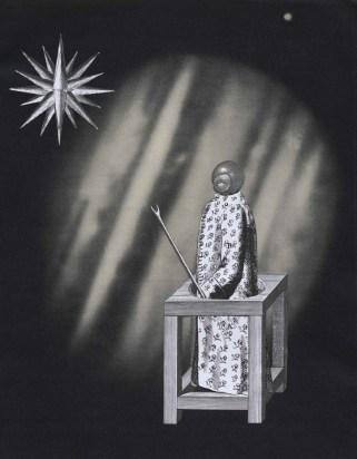 Le mage, Thaddée, collage sur papier, 26,5 x 21,5 cm, 2015