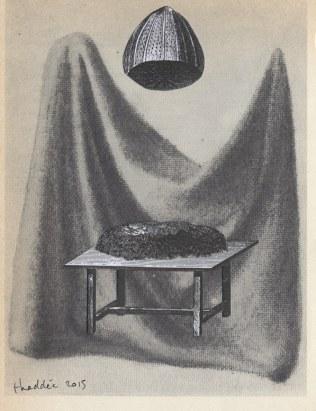 Mystère, Thaddée, collage sur papier, 17,4 x 13,3 cm, avril 2015