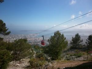 Teleférico para o Mont Faron em Toulon.