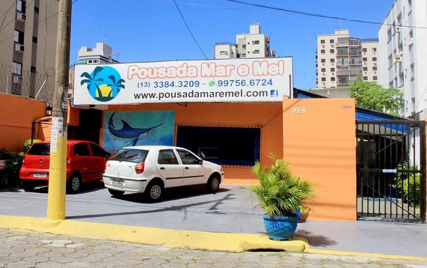 Fachada Pousada Mar e Mel Enseada Guarujá