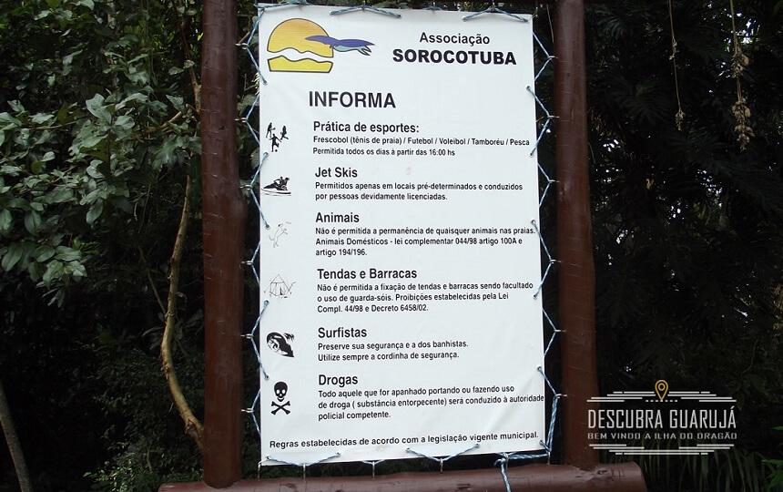 Informacoes na Praia do Sorocotuba Guarujá