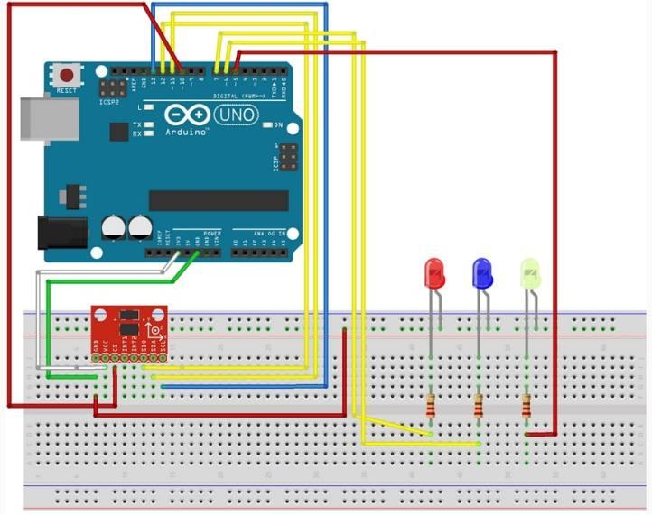 Acelerómetro ADXL335 con Arduino Uno conectado y reflejado en leds