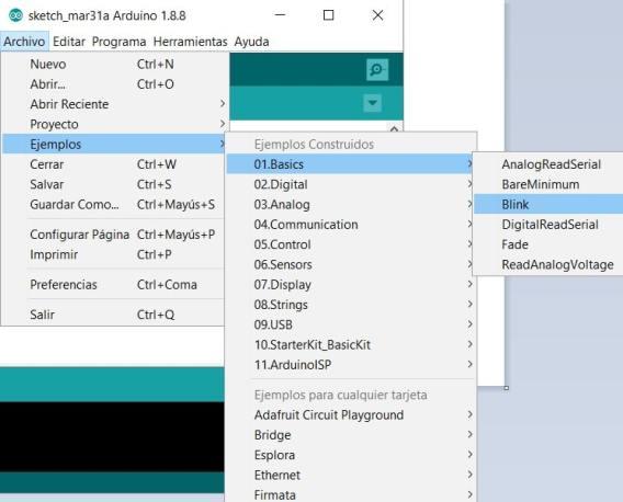 abrir sketch ejemplo blin arduino ide - Cómo descargar e instalar Arduino y el IDE en nuestro ordenador
