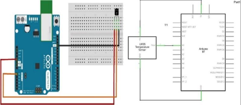 sensor de temparatura LM35 diagrama