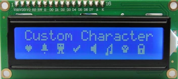 caracteres especiales pantalla LCD - Electrogeek