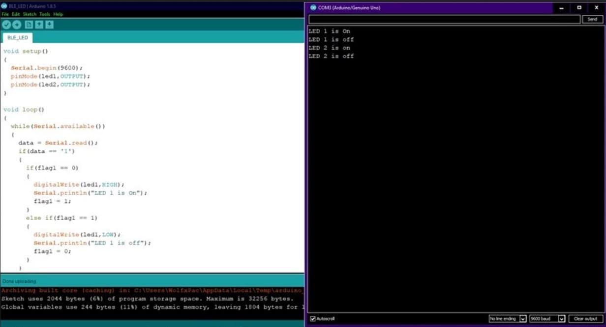 codigo en arduino IDE - Tutorial de Bluetooth Low Energy (BLE) para Arduino