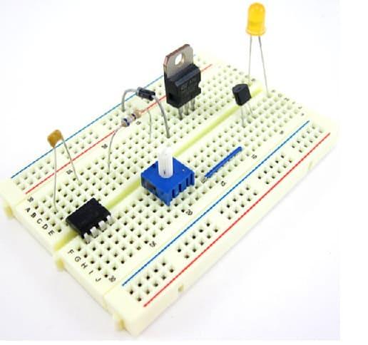componentes conectados a protobard - Protoboard, ¿Qué es y cómo se usa?