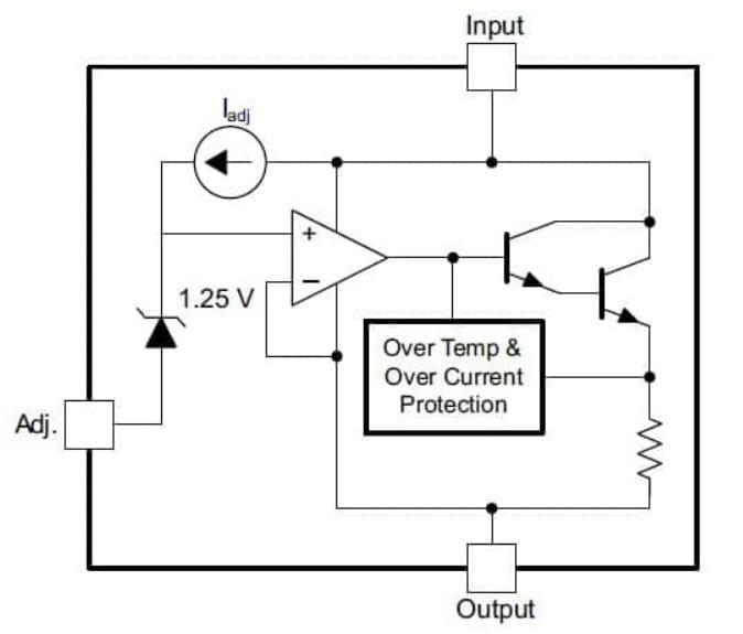 esquema LM317 - LM317, introducción al regulador de tensión lineal ajustable