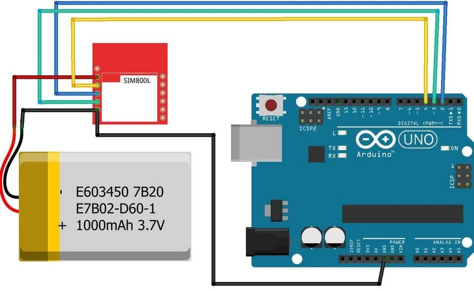conexion SIM800L GSM Arduino Uno - Enviar Recibir SMS y llamar con el módulo SIM800L GSM y Arduino