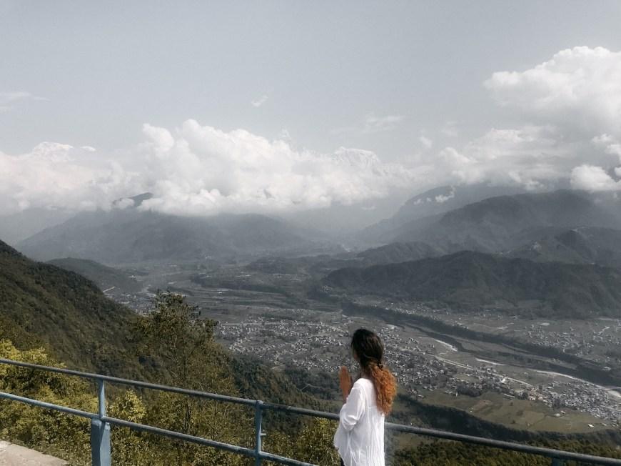Anna en el mirador del Sarangkot, Nepal