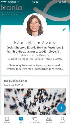 Captura pantalla perfil personal con posibilidad de editarlo
