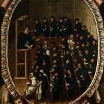 Alumnos en un aula de la Universidad de Salamanca, siglo XVII