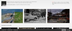 Captura de la página principal de la web de Google Cultural Institute