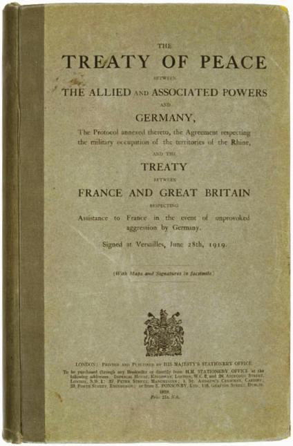 Copia inglesa del Tratado de Versalles (Wikimedia).