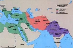 Mapa de los principales imperios musulmanes en el siglo XVI.