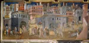 Alegoría del Buen Gobierno (siglo XIV), fresco de Ambrogio Lorenzetti (Wikimedia).