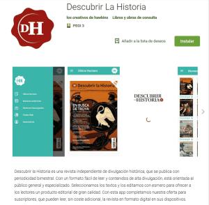 Captura de la app de Descubrir la Historia en Google Play.