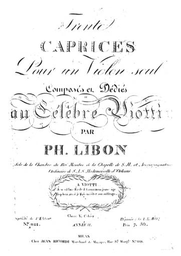 Portada de Treinta Caprichos. Dedicados al célebre Viotti.