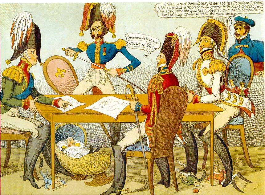 Caricatura contemporánea del Congreso de Verona, 1822 (Wikimedia).
