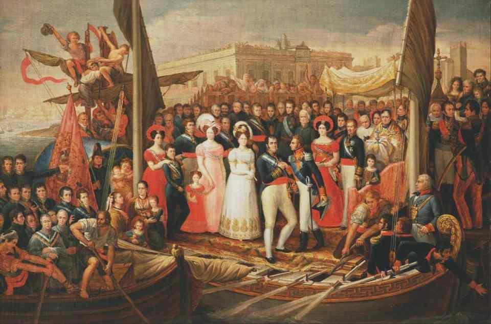 Fernando VII, liberado de su sumisión a las Cortes asediadas en Cádiz por la intervención francesa, desembarca en el Puerto de Santa María y es recibido por el duque de Angulema. Cuadro de José Aparicio (Wikimedia).