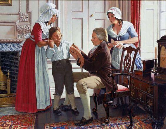 Jenner vacunando a James Phipps a partir de las lesiones de la mano de Sarah nelmes (Robert A. Thom, 1965).