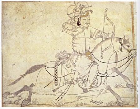 Arquero a caballo mongol. Dibujo de época timurí, siglo XV. Diez A, fol. 72, 5.13. Staatsbibliothek, Berlín.