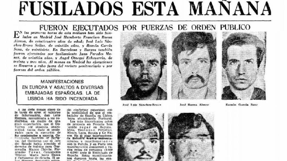 Últimos fusilados por el Franquismo 27 de septiembre de 1975.