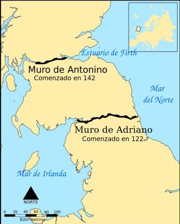 Ubicación del Muro de Antonino respecto al de Adriano. (Wikimedia)