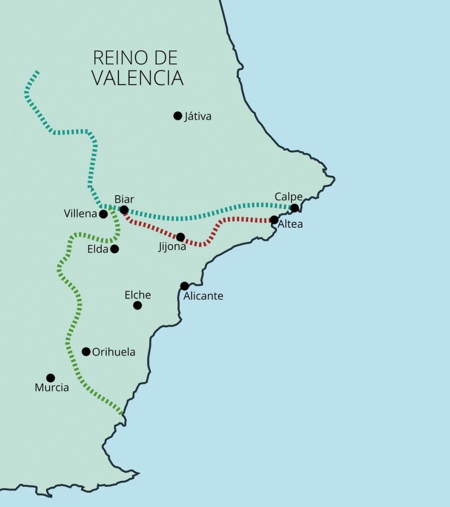 Tratados de Tudilén (1151, Alicante para la Corona de Aragón), Cazola (1179, Alicante para Castilla) y Almizra (1244, el sur de Alicante para la Corona de Castilla y la franja norte de Alicante para la Corona de Aragón).