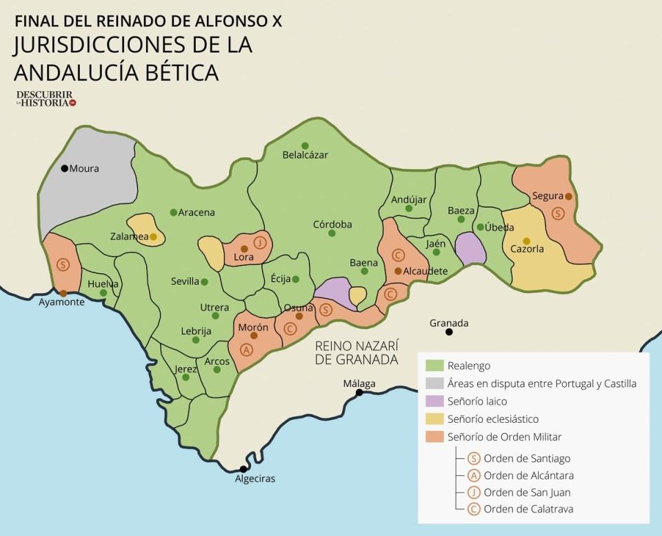 Repoblación mayoritariamente de Repartimiento con heredamientos (realengo) en el valle del Guadalquivir y de donadíos o señoríos eclesiásticos de Órdenes militares en la frontera con el reino de Granada, finales siglo XIII (mapa de Juan Pérez Ventura).