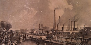 D O Hill's impression of Charles Tennant & Co's St.Rollox Chemical Works and Iron Foundry on the day of the opening of the Garnkirk & Glasgow Railway, September 1831.