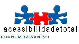 Imagem do logo do site acessibilidade total: 3 peças de quebra cabeça unidas. Duas azuis, na ponta e uma vermelha, no centro.