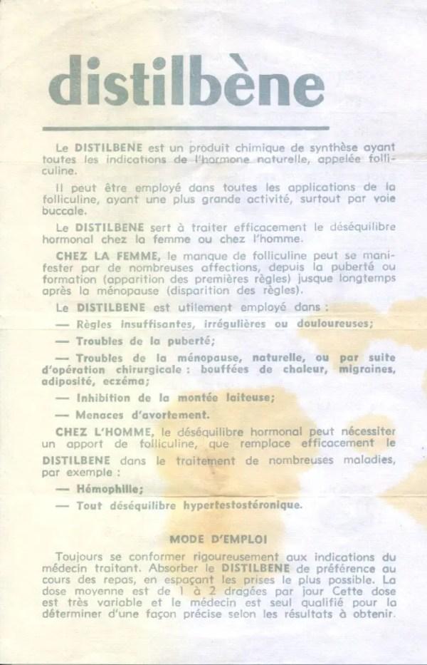Notice de Distilbène® DES, prescrit en France jusqu'à 1977