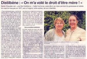 Distilbène: On m'a volé le droit d'être mère! Ouest France 06-2013