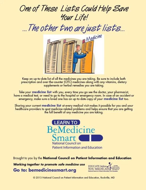 update your medicine list poster
