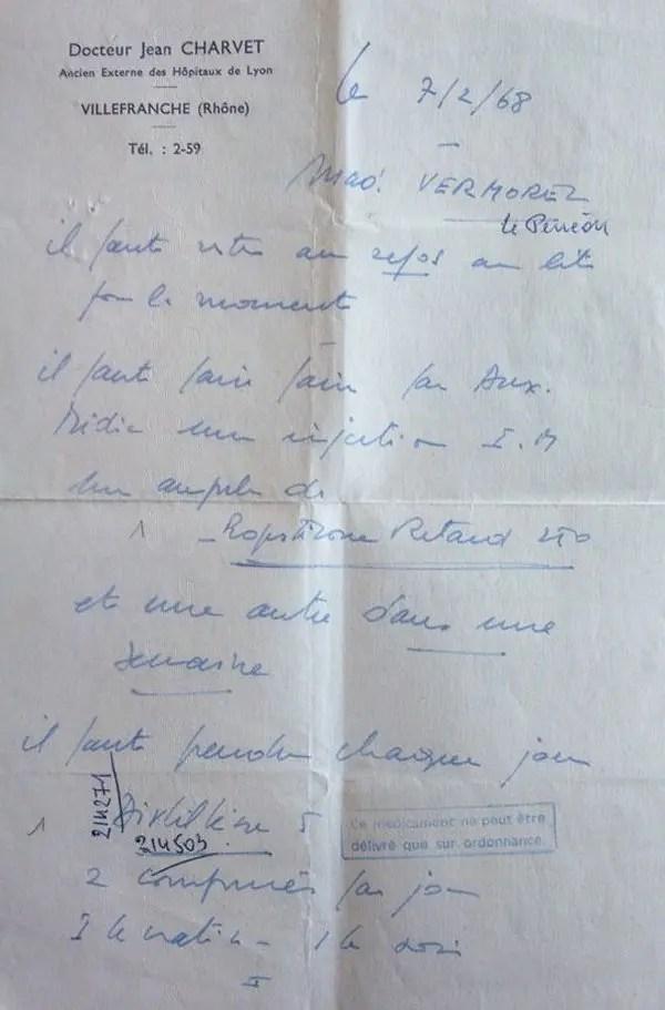 image d' Ordonnance Distilbène 1968