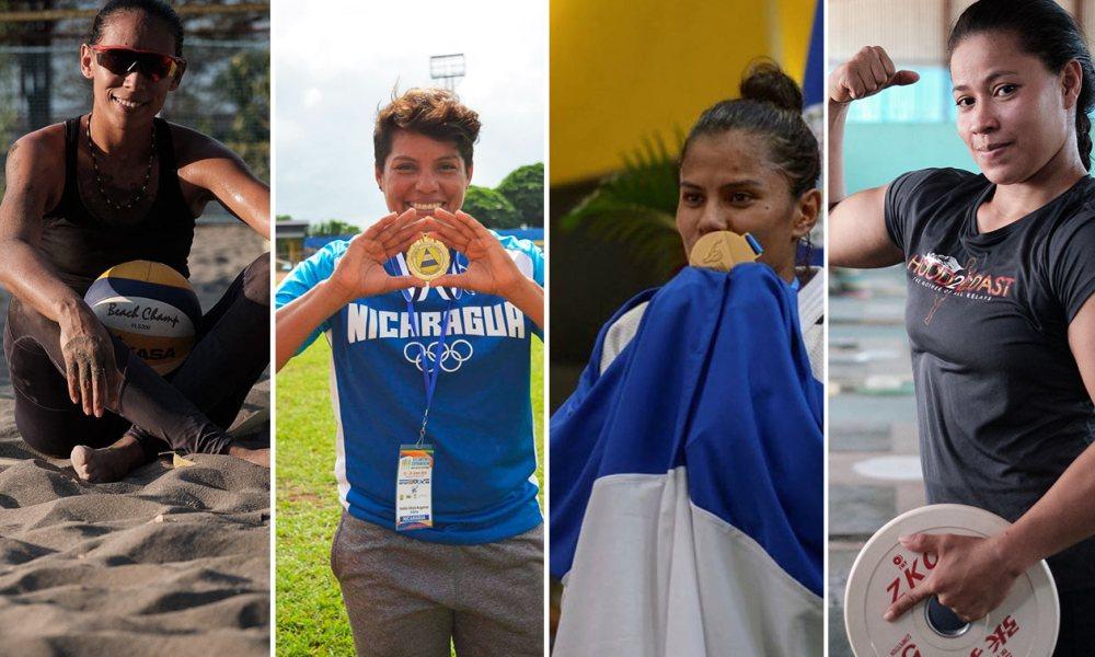 De izquierda a derecha: Swan Mendoza, Dalila Rugama, Sayra Laguna y Sema Ludrick mujeres atletas de Nicaragua.