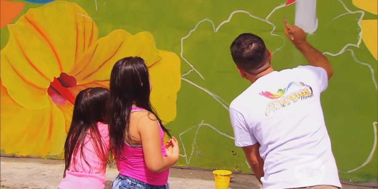 José Alfredo López artista de murales en San Carlos, es un titán Caracol