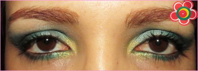 passo a passo maquiagem verde e dourado natal olhos abertos
