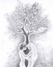 Sara pe deal desen in creion inspirat din poezia lui Eminescu