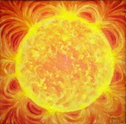 Soare, pictura acrilice pe panza