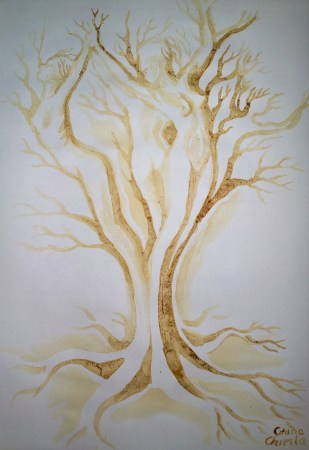 The tree of love coffee painting - arborele iubirii pictura facuta cu cafea
