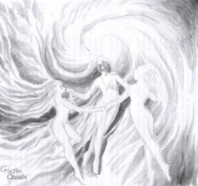 Dansul ielelor Margalina Savatina si Rujalina desen in creion