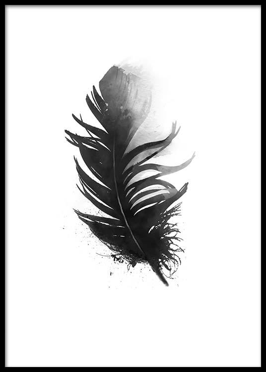 Poster Noir Et Blanc Avec Plumes Peintes A L Aquarelle Desenio Ch